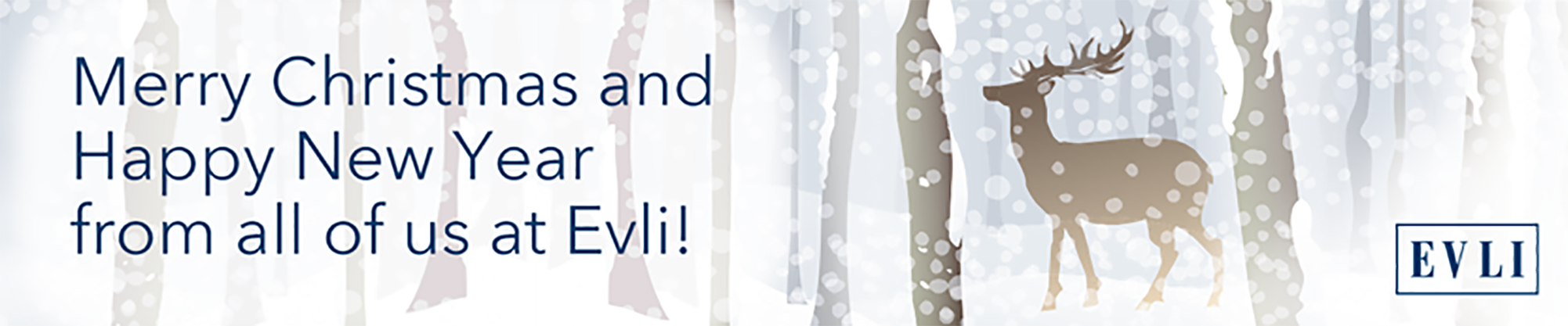 Evli Christmas Banner with a drawn deer in a snowy forest