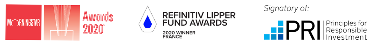 Morningstar Awards logo, Refinitiv Lipper Fund Awards logo, UN PRI logo
